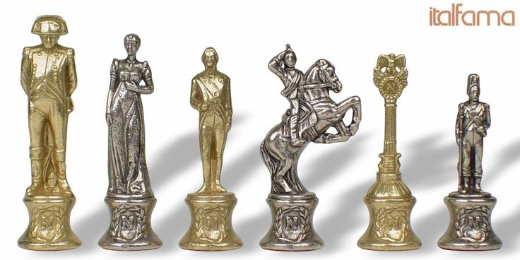 Large Napoleon Theme Chess Set Brass & Nickel Pieces - The Chess Store