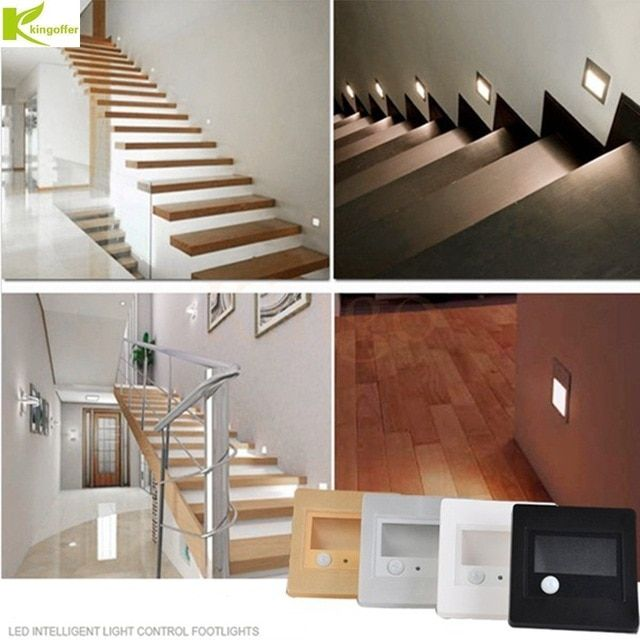 1pcs 5pcs 10pcs Indoor Pir Motion Sensor Led Stair Light Infrared Human Body Induction Wall Lamp Recessed Step