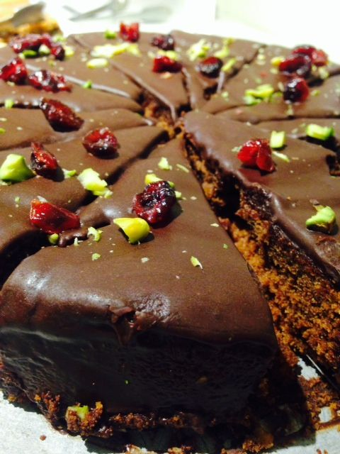 Simply divine pistachio & cranberry chocolate cake - Cafe Modern One