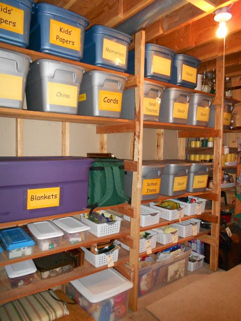 This looks like our Storage room... except I like the idea of putting 2 shelves closer together for the smaller bins.