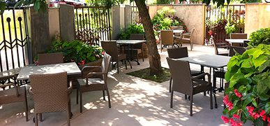 """Outdoor patio for dining -- John J Jeffries - Lancaster Arts Hotel """"Can't wait for warmer weather!"""""""