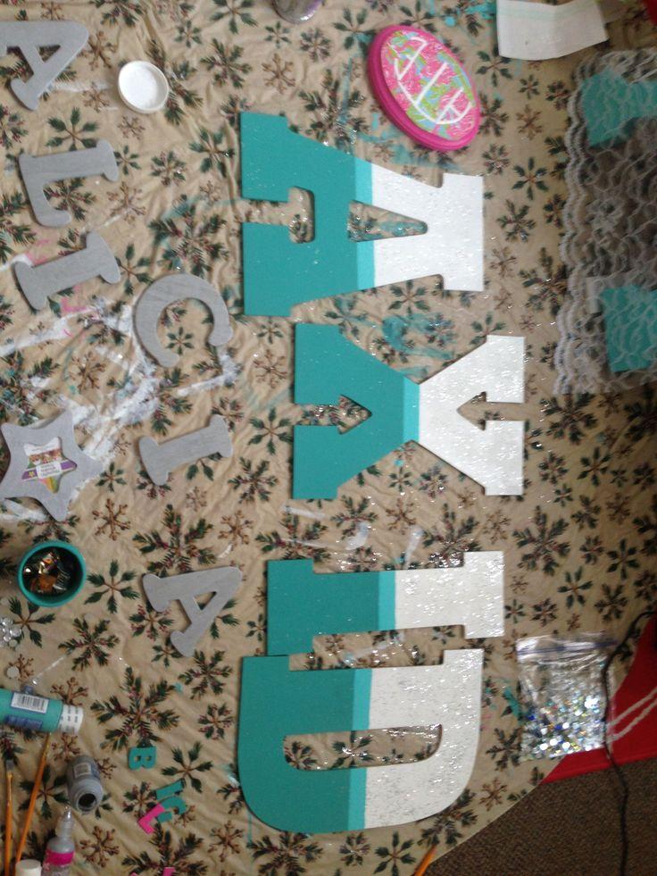 Ombre Alpha Xi Delta Letters! DIY