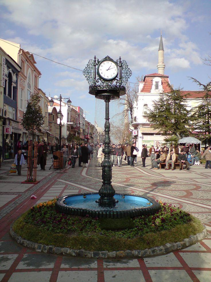 A pedestrianized shopping street in downtown Edirne, Turkey
