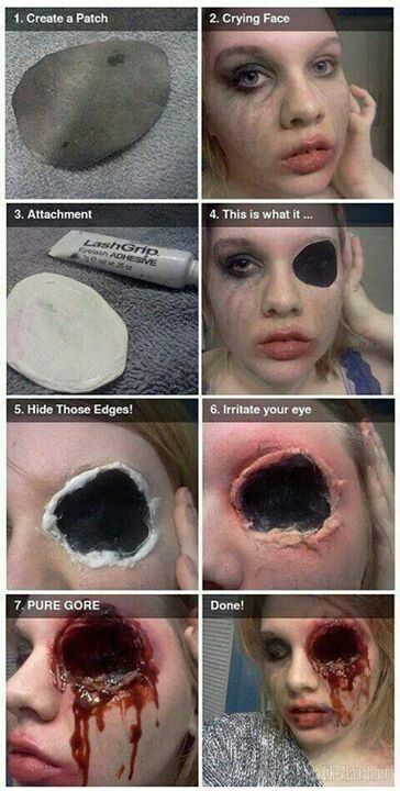 Good pics for missing icky eye. No instructions, though, so one might need to do a bit of research on the how's.