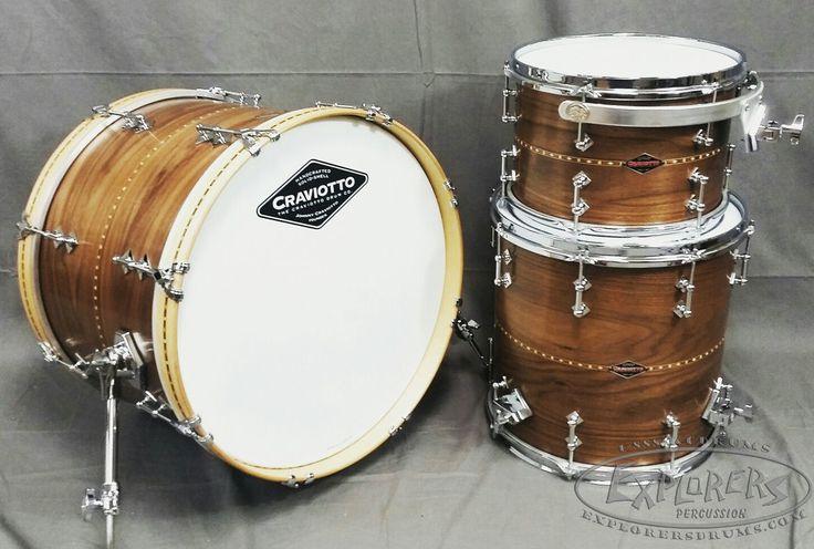 Craviotto Drum Set Custom Shop 3 Piece Solid Walnut w/ Walnut Inlay