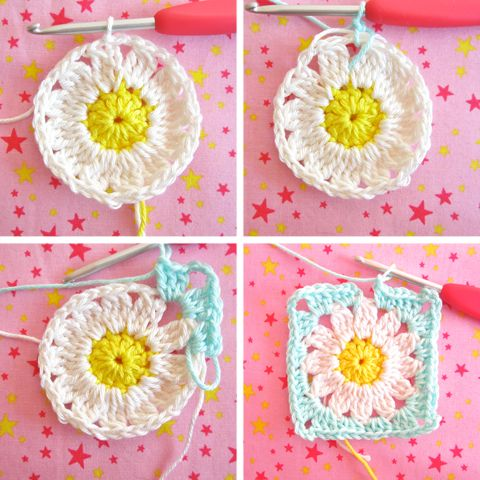 Color 'n Cream Crochet and Dream: Flower Square Tutorial VI