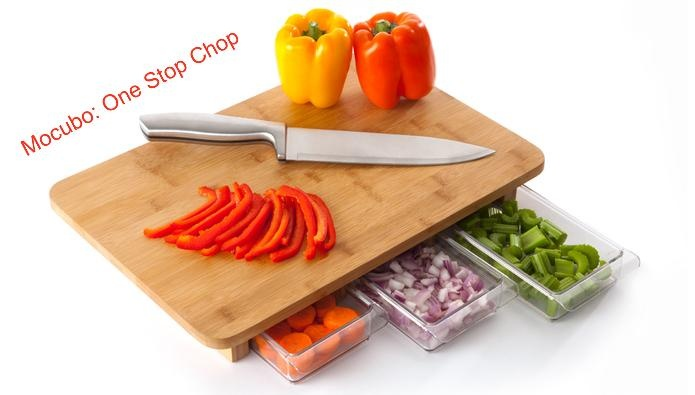 clever. food prep containers attached to the cutting board: Cutting Boards, Ideas, Kitchen Gadgets, Chopping Boards, Gift, Bamboo Cutting, Products