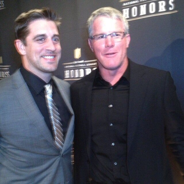 Aaron rodgers and Brett Favre Love that they made peace with each other. It makes me feel all warm an tingly inside.  I have always loved them both! They are elite QB's, Leaders, and above all, just good human beings.