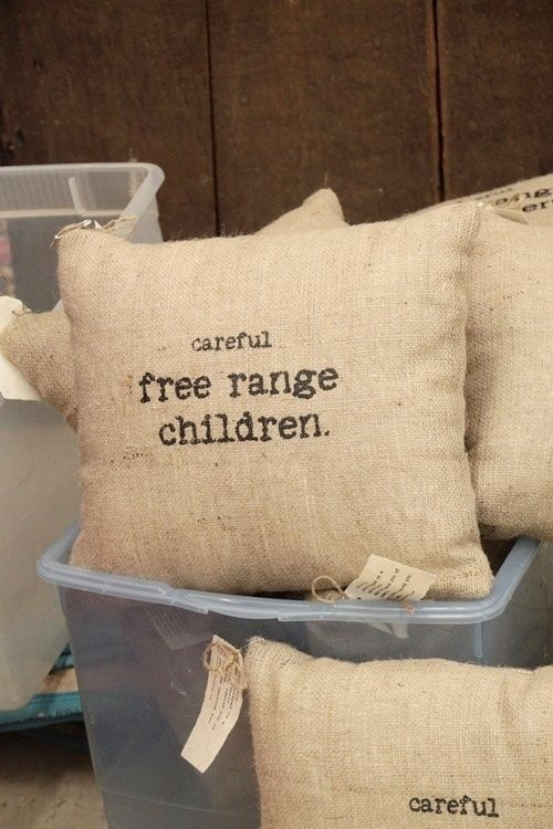 Free range children pillow. Rustic neutral farmhouse decor. Burlap pillow, chicken, printed pillow, personalized, chic, #afflink.