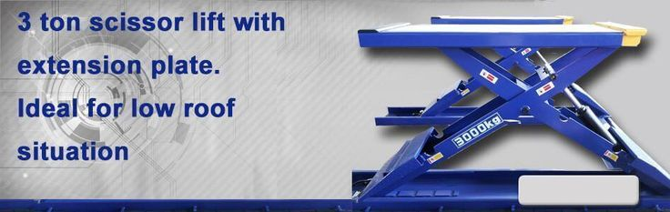 3 ton #scissor #lift with extension plate. Ideal for low roof situation.