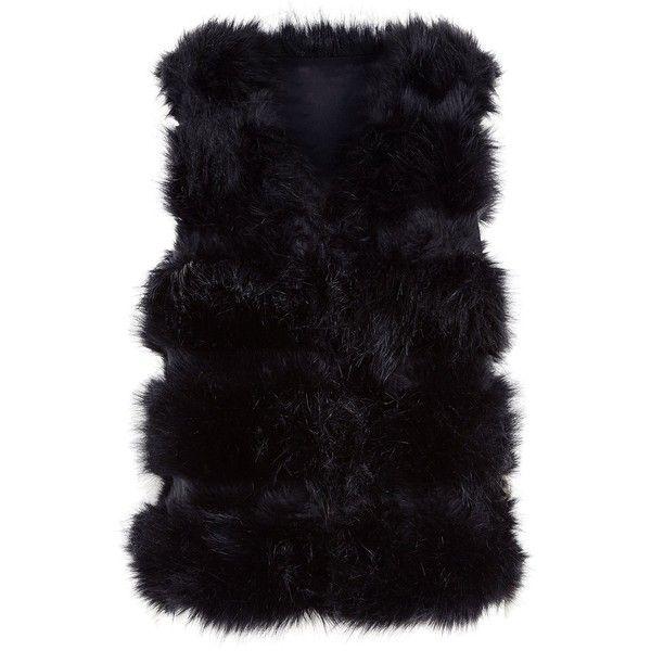 Cameo Rose Black Faux Fur Gilet (783.755 IDR) ❤ liked on Polyvore featuring outerwear, vests, faux fur gilet, faux fur waistcoat, gilet vest, fake fur vests and faux fur vest