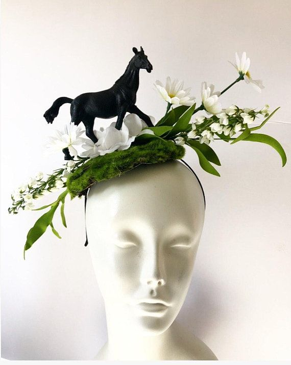 Horse Fascinator- Day at the Races- Flower headpiece - Mad Hatter - Floral  headpiece 7dd98bdbaff