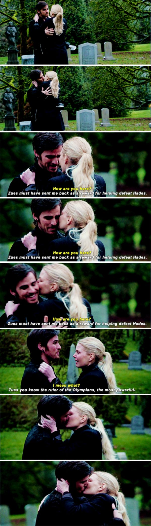 """Zeus must have send me back as a reward for helping defeat Hades"" - Killian and Emma #OnceUponATime ((YAY!!!))"