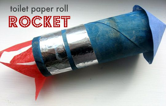 10, 9, 8, 7, 6, 5, 4, 3, 2, 1... blast off!    Toilet paper roll rocket.