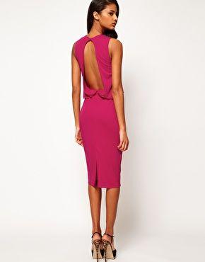 asos midi dress with drape top and open back midikleider