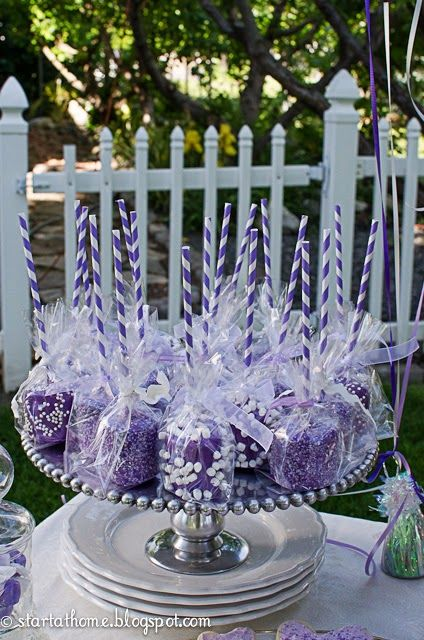 purple marshmallow party treats