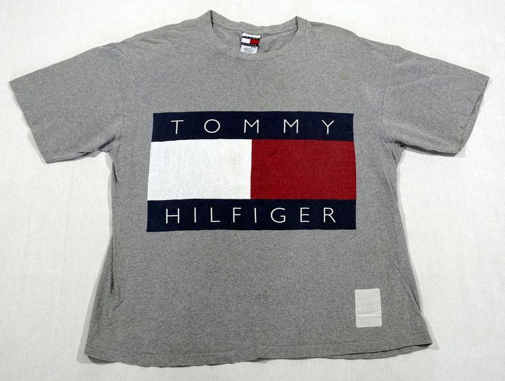 VTG 90S TOMMY HILFIGER USA MADE BIG BOX LOGO OG T SHIRT AALIYAH 1992 SPORT POLO #TOMMYHILFIGER #TSHIRT