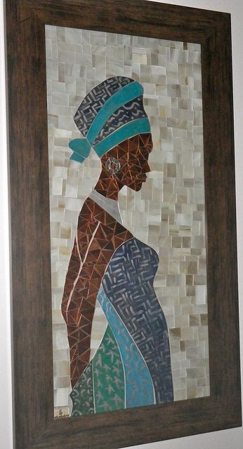 "Africana by Schandra "" Trabalhos em Mosaico"", via Flickr figurative mosaic..lovely!"