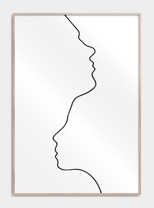 Zwei in einer Strichzeichnung – #Zeichnung #Linie #Plakat