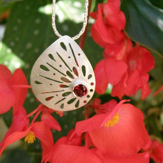 Garnet Necklace, Garnet Silver Necklace, Lace Sterling Silver Necklace with Faceted Garnet, January Birthstone, Gift For Her
