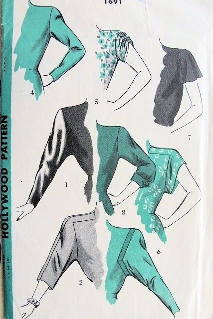 1940s RARE SLEEVES PATTERN 8 DIFFERENT STYLES of SLEEVES HOLLYWOOD PATTERNS 1691