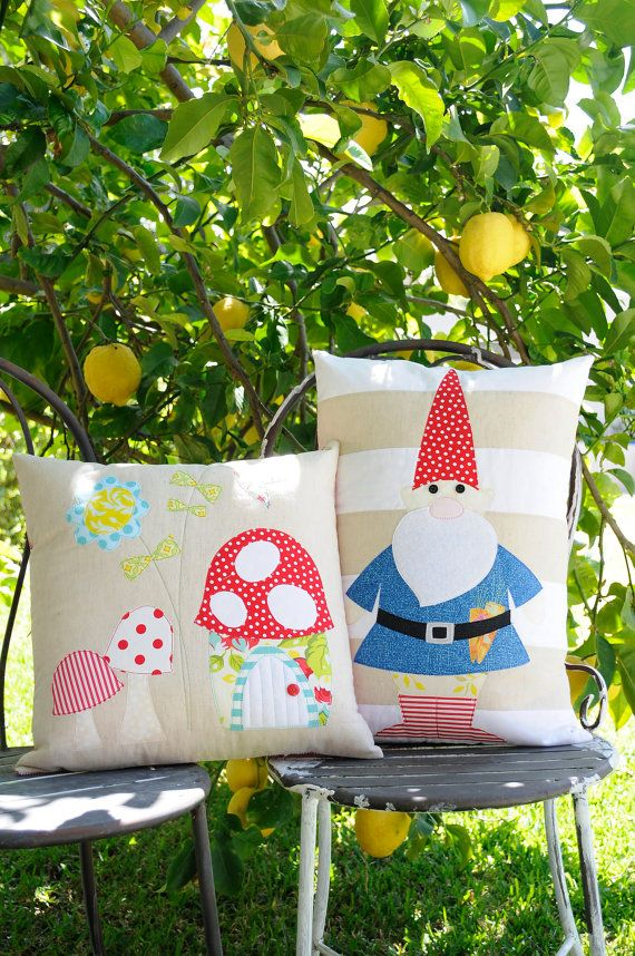 Rosies Garden & the Gnome Applique cushion Patterns from Claire Turpin Design on etsy - tooooooo cute!