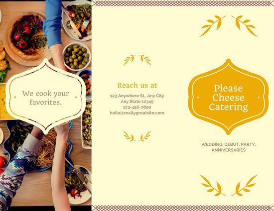 Cream and Gold Catering Trifold Brochure