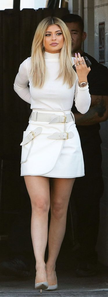 Kylie Jenner in an all white outfit