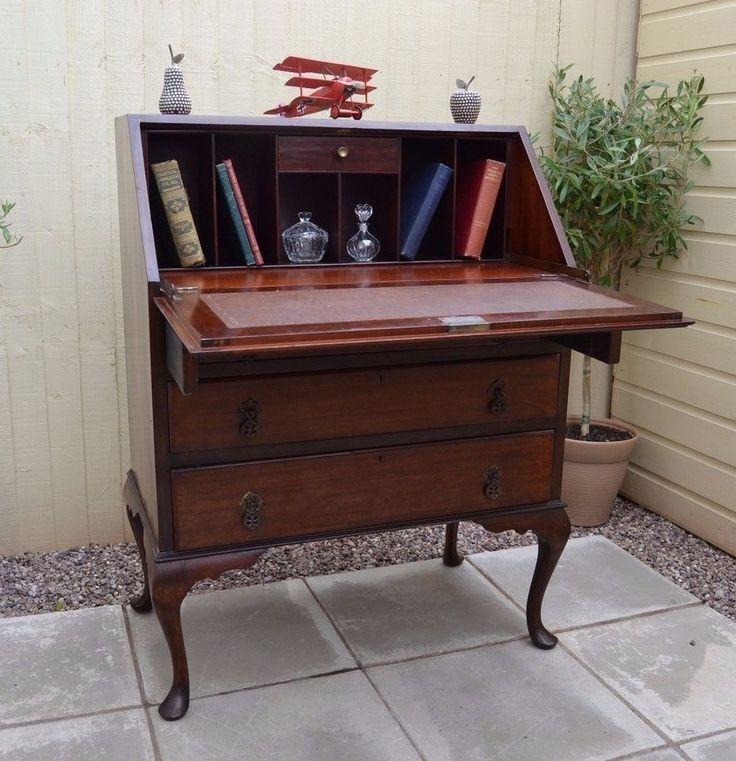 Pretty Vintage Walnut Writing Bureau Desk Laptop Home Office George V Antique Bureaux