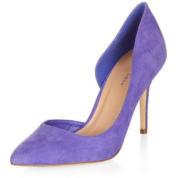 Purple Cut Out Side Pointed Court Shoes ($22) ❤ liked on Polyvore featuring shoes, pumps, rich purple, purple high heel shoes, purple pointy toe pumps, high heel shoes, purple shoes and pointed toe shoes