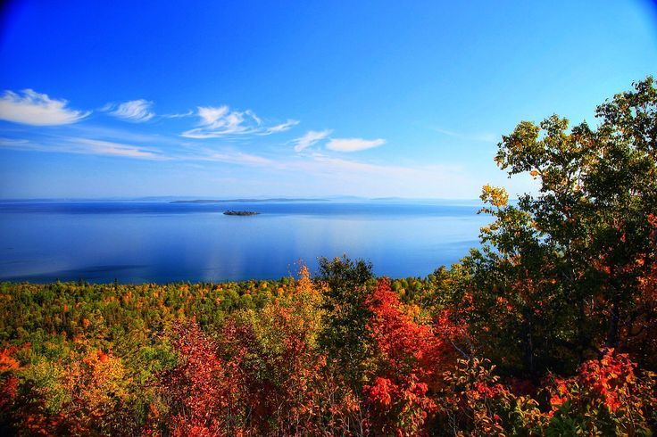 The breathtaking Ten Mile Point Lookout is halfway between Little Current and Manitowaning.  On a clear day you can see, and photograph over a thousand square miles of the most beautiful blue-water country in the world.  A historic marker commemorates an early Jesuit mission at Wikwemikong.