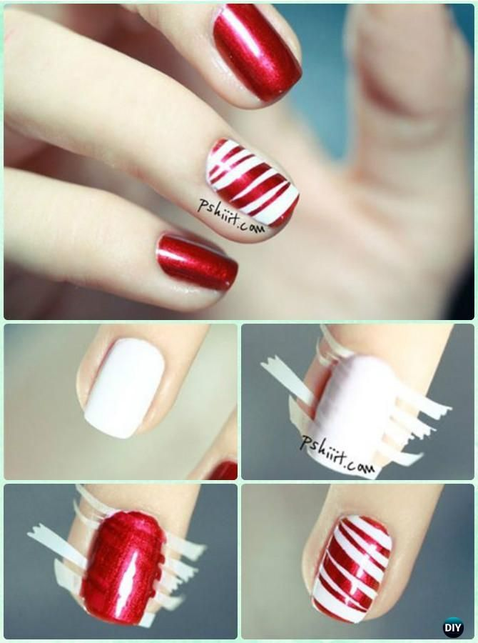 DIY Candy Cane Nail Art Instruction-DIY Christmas Nail Art Ideas