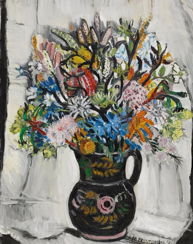 Black Jug with Kangaroo Paws 1956. Oil on canvas, signed and dated 'M. Preston Jan. 56' lower right,