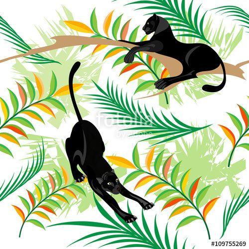 Вектор: бесшовный узор.Черные пантеры в лесу.