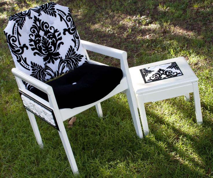 This chair has been re-upholstered with a modern damask print and Black velvet seat. Both chair and table have high gloss finish. See Nine Stitches on Facebook For more pictures... https://www.facebook.com/pages/Nine-Stitches/1395225480724976