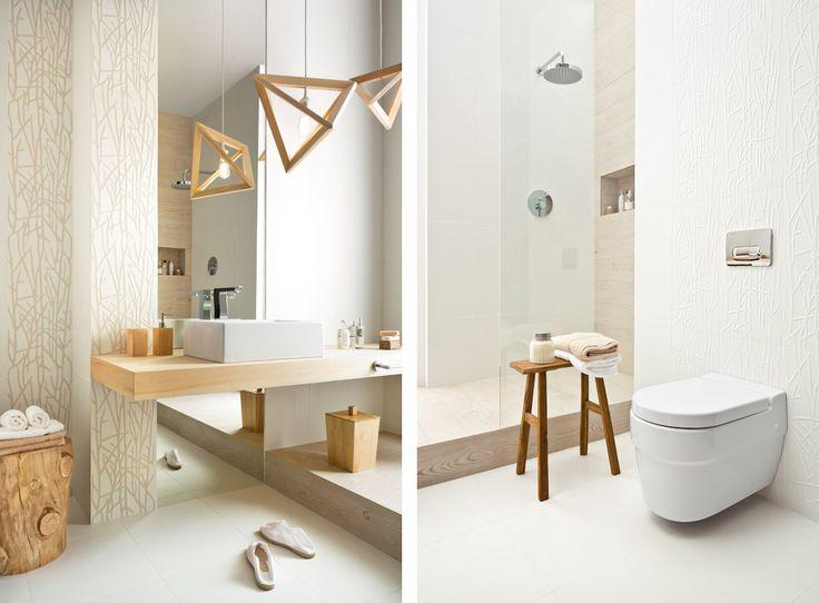 Biała łazienka urozmaicona drewnem i drewnoopodobnymi dodatkami :)  ------ Płytki łazienkowe Adilio / Rivo - beżowe i białe - Paradyż