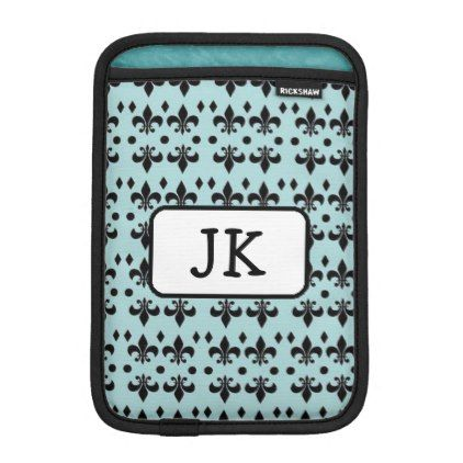 Monogrammed Turquoise & Black Anchors  iPad Case - monogram gifts unique design style monogrammed diy cyo customize