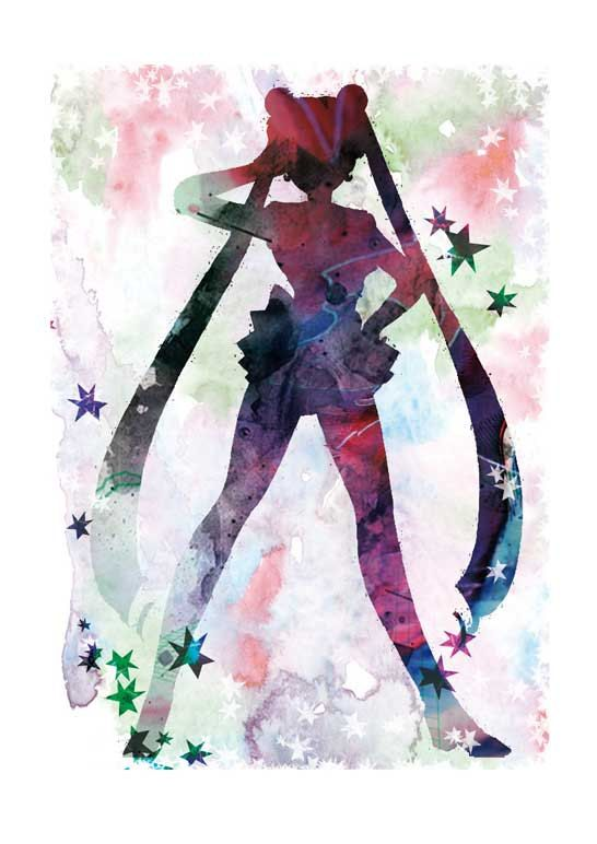 Sailor moon, watercolor digital print