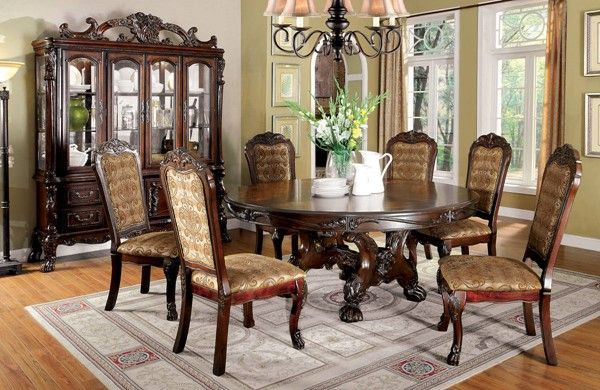 Medieve Traditional Cherry Solid Wood Round Dining Table Impressive Traditional Dining Room Sets Cherry Decorating Inspiration
