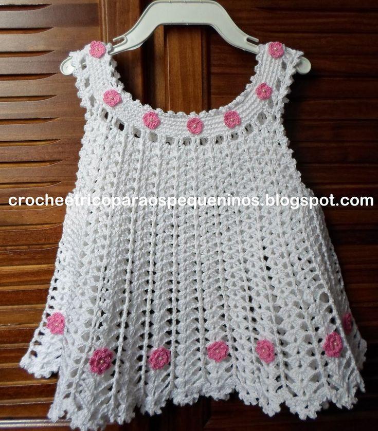 CROCHE E TRICO PARA OS PEQUENINOS: Vestidinho de crochê para bebe com receita