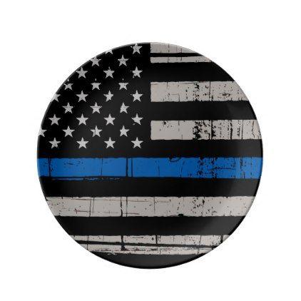 Thin Blue Line - Police Officer - K9 Police Dog Plate - office decor custom cyo diy creative