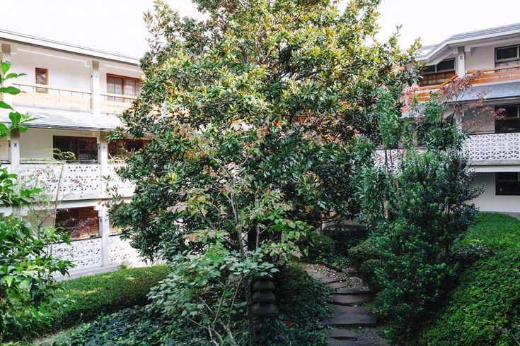 泰山館 107 | 東急田園都市線「駒沢大学」駅 徒歩11分、東急東横線「学芸大学」駅 徒歩15分 | この建物を訪れる度に、丁寧な建築、丁寧な住環境の設計、整備というものを深く考えされられます。エントランスの門扉を開くと、緑豊かな庭があり、一角にはバーベキュー場が設営されています。飛び石を進みそれぞれの建物敷地内に入ると、モザイクガラスの埋め込まれた玄関ドアがあります。室内は、温かみのある木と壁の白で構成されており、木材は一種類ではなく、複数の素材を床壁天井に使い分けられています。外には専用の庭が