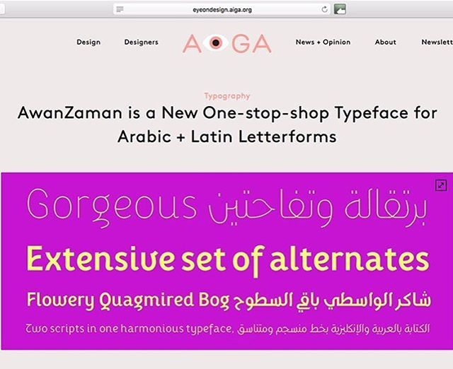 """34 Likes, 4 Comments - TypeTogether (@type_together) on Instagram: """"AwanZaman featured in @aigaeyeondesign: 'AwanZaman is a new one-stop-shop typeface for Arabic +…"""""""