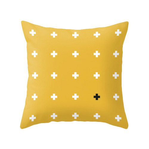 Swiss cross pillow cover Mustard yellow crosses pillow by LatteHome