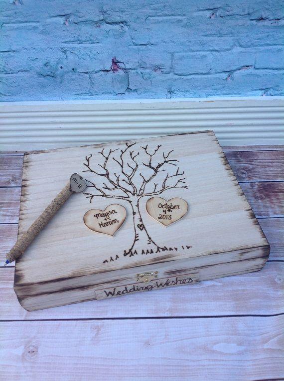 Rustic wedding guest book alternative / guest book / memory box / wedding wishes / wood burned box / keepsake  box