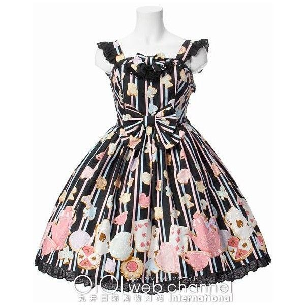 Angelic Pretty Wonder Cookie Jumper Skirt ($284) ❤ liked on Polyvore featuring dresses, lolita, angelic pretty, gothic lolita, lolita dress, women, multi colored striped dress, stripe dresses, tea dress and multi color dress