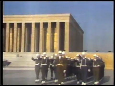 "Morning flag-raising ceremony at the mausoleum of Mustafa Kemal Atatürk (Anıtkabir), with the Turkish National Anthem (""İstiklal Marşı"")."