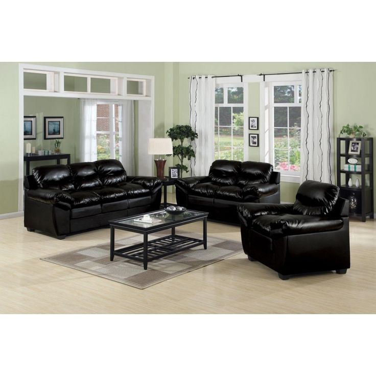 Luxury Black Leather Sofa Set Living Room Inspiration Best Regarding Furniture