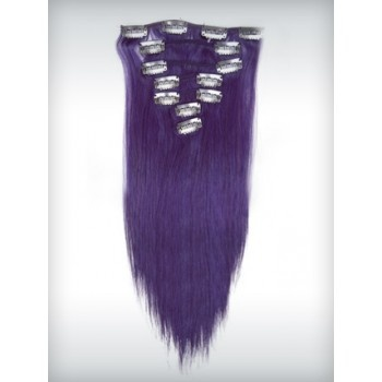 18 inches Lila 7 pieces Clip In Human Hair Extension