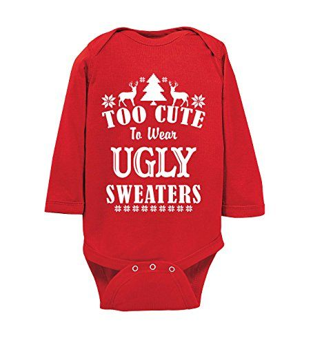 estis baby couture too cute to wear ugly sweaters funny baby christmas onesie holiday bodysuit red 6 12 months ugly christmas sweater baby